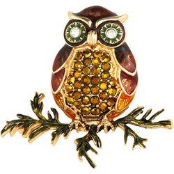 Napier Boxed Fall Enamel & Rhinestone Owl Pin