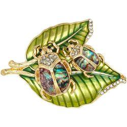 Napier Abalone & Rhinestone Double Bug Leaf Pin