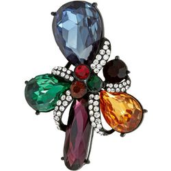 Napier Boxed Holiday Jewel Tone Rhinestone Pin