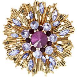 Napier Boxed Purple Multi Stone Starburst Pin