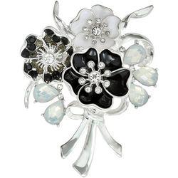 Napier Boxed Black & White Floral Bouquet Pin