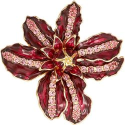Napier Large Red Enamel & Pink Rhinestone Pin