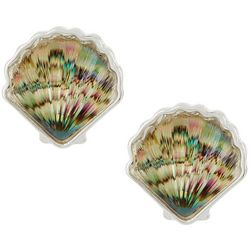 Napier Silver Tone Abalone Seashell Clip On Earrings