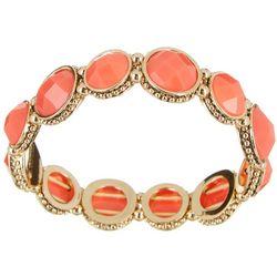 Napier Coral Orange & Gold Tone Stretch Bracelet