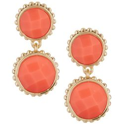 Napier Coral Stone Double Drop Clip On Earrings