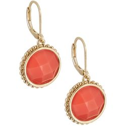 Napier Coral Stone Drop Earrings
