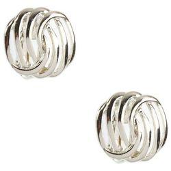 Napier Silver Tone Knot Button Clip Earrings