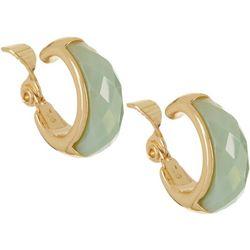 Napier Paradise Mint Green & Gold Tone Hoop Clip On Earrings