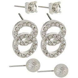 Napier 3-pc. Silver Tone CZ & Ball Stud Earring Set