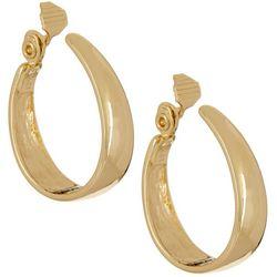 Napier 35mm Gold Tone Oval Hoop Clip On Earrings