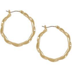 Napier Gold Tone Twist Click It Hoop Earrings