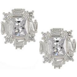 Napier Silver Tone CZ Square Cluster Clip On Earrings