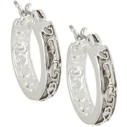 Napier Silver Tone 18mm Textured Hoop Earrings
