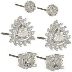 Napier 3-pc. CZ Round & Triangle Earring Set