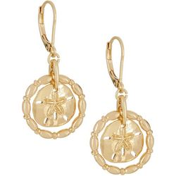 Napier Gold Tone Sand Dollar Drop Earrings