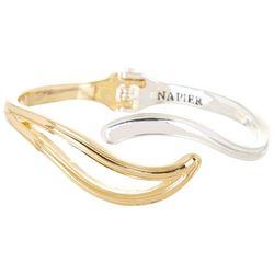 Napier Two Tone Swirl Hinged Bangle Bracelet
