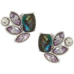 Napier Purple Cluster Stone Stud Earrings