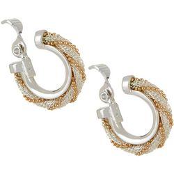 Napier Two Tone Mesh Chain Hoop Clip On Earrings