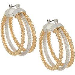 Napier Two Tone Mesh Chain & Bead Triple Hoop Earrings