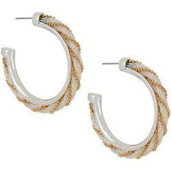 Napier Two Tone Mesh Chain Wrap C Hoop Earrings