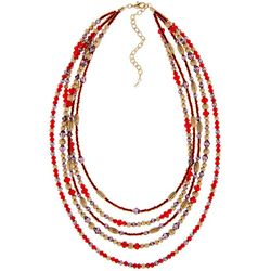 Napier 5 Row Red, Purple & Gold Tone Beaded Collar Necklace