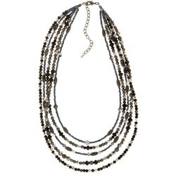 Napier Hematite Tone & Jet Black Beaded Collar Necklace