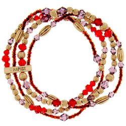 Napier Four Row Red &  Purple Beaded Stretch Bracelet