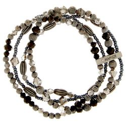 Napier Four Row Hematite Tone Jet Beaded Stretch Bracelet