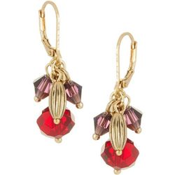 Napier Red Beaded Cluster Leverback Earrings
