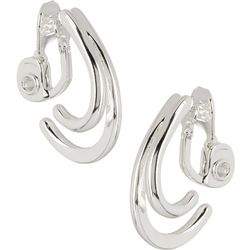Napier Silver Tone Double Half Hoop Earrings