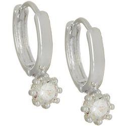 Napier CZ Drop Silver Tone Hoop Earrings