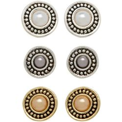 Napier Simulated Pearl Two Tone Trio Earring Set
