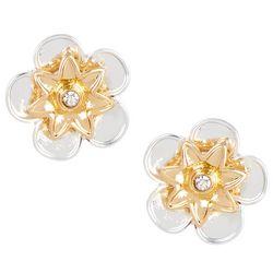 Napier Two Tone Small Flower Stud Earrings