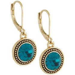 Napier Indicolite Blue Gold Tone Earrings