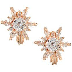 Napier CZ Starburst Rose Gold Tone Clip Earrings