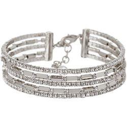 Napier Silver Tone Rhinestone Flex Silver Tone Bracelet
