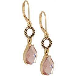 Napier Pink Teardrop Leverback Earrings