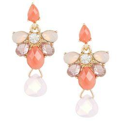 Napier Pink Peonies Multi Cluster Drop Earrings