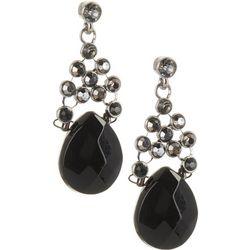 Napier Jet Black Hematite Tone Post Top Earrings