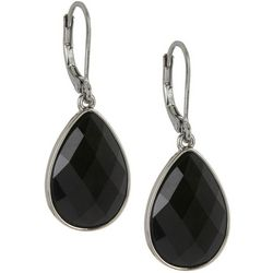 Napier Jet Black Teardrop Leverback Earrings
