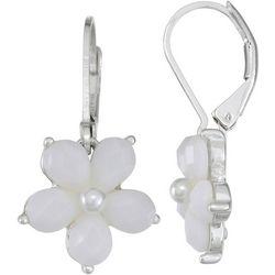 Napier White Flower Silver Tone Earrings