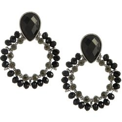 Napier Jet Black Bead & Rhinestone Door Knocker Earrings