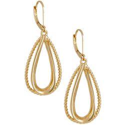 Napier Open Teardrop Gold Tone Drop Earrings