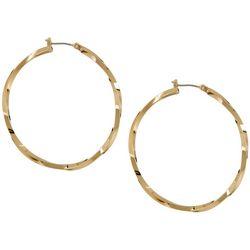 Napier 45mm Gold Tone Twist Hoop Earrings