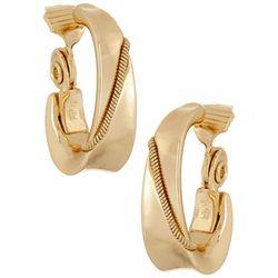 Napier Gold Tone Wide Hoop Clip On Earrings