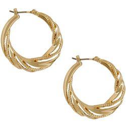 Napier 27mm Gold Tone Textured Hoop Earrings