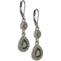Napier Black Rhinestones Teardrop Earrings