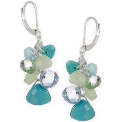 Napier Blue & Green Confetti Bead Cluster Earrings