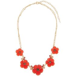 Napier Coral Cabochon Flower Frontal Necklace