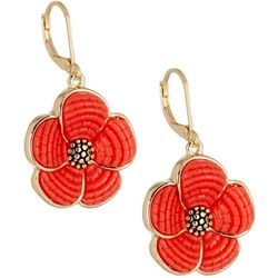 Napier Coral Cabochon Flower Lever Back Earrings